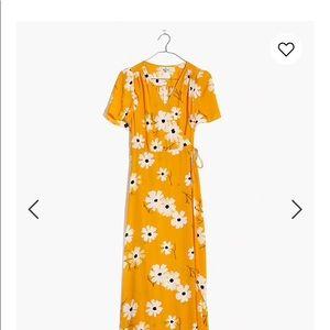 Puff-Sleeve Wrap Midi Dress in Ikat Floral